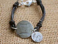 Sterling Silver Baseball Leather & Number Bracelet by sosobellatoo, $32.00
