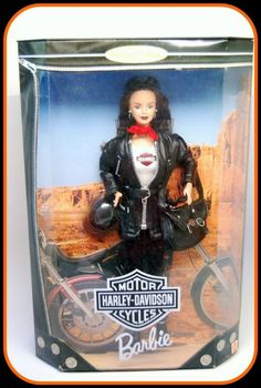Barbie's looking great and ready to ride her #HarleyDavidson Motorcycle! Barbie #3 Brunette Collector Doll 1999 NRFB