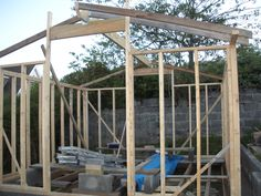 Shed - starting to frame roof. Reused second hand timber. Timber frame shed construction. Timber Cladding, Timber Flooring, Shed Construction, Reclaimed Timber, Reuse, Pergola, Feather, Workshop, Outdoor Structures