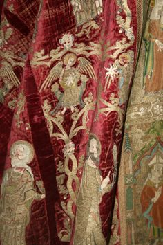 Butler-Bowden Cope 1330-50 Silk Velvet with Embroidery of gold, silver & silk threads, pearls, glass and metal rings. The V&A (Close up)