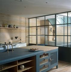 Contemporary hand painted island kitchen