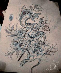 Traditional/old school cobra tattoo- Tattoo Sketches, Tattoo Drawings, Drawing Sketches, Snake Drawing, Snake Art, Tattoo L, Body Art Tattoos, Cobra Royal, Kobra Tattoo