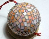 Mosaic Handmade Ornament Ball - Christmas Tree and Home decor - orange pink glass tiles