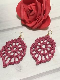 Crochet openwork dangle earrings, handmade openwork jewelry, crochet elegant earrings, great goft for her Knitting ProjectsKnitting FashionCrochet Hair StylesCrochet Baby Crochet Earrings Pattern, Crochet Patterns, Haut Bikini, Bikini Set, Earrings Handmade, Handmade Jewelry, Watercolor Wallpaper Iphone, Crochet Simple, Dangle Earrings