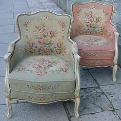 Shabby Chic armchairs ♡ prefer upholstered arms but love the fabric choices here