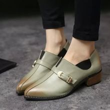 Inglaterra estilo 2015 tamaño 34-39 mujeres Vintage limpie colores Oxfords estudiante de muy buen gusto del dedo del pie puntiagudo hebilla del talón grueso zapatos de cuero B6499(China (Mainland))
