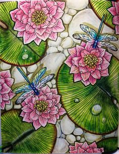 Coloring Book | Coloring Pages | Coloring for Adults | Arts & Crafts | Drawing | Dragonflies | Pond | Lily pads