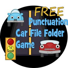 FREE Cars themed Punctuation Game for kids in Kindergarten, 1st grade and 2nd grade. This is such a fun review game for language arts.