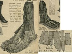 Tygodnik Mód 1880.: Formal or evening skirt with long train and rich lace balayeuse. Fig. a-c foundation skirt's pieces, Fig. d and e pleated train's pieces, Fig. f lining to the train's balayeuse support.