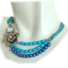 Ketting met kralen en bloem - K13837 blauw -De Online Sieraden Webwinkel
