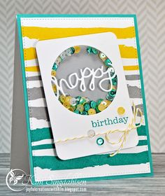Happy Birthday Shaker from Joyful Creations with Kim using stamps and dies from Papertrey Ink.