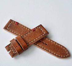 24x24mm orange vintage leather watch strap panerai style
