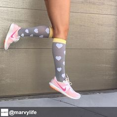 These #heart socks are too #cute! They are great to wear to workout or hang out with friends to keep your legs looking and feeling amazing.