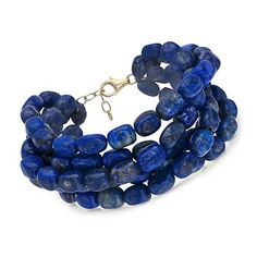 "Lapis Multi-Strand Bracelet in 18kt Over Sterling. 8"" A lush jumble of blue lapis beads will add the on-trend layered look to your ensemble with one easy-to-wear piece. Bracelet presented with an 18kt gold over sterling silver clasp.  Sale 84 USD"