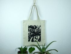 Canvas plant printed tote bag by robobambi on Etsy