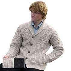Shipped to USA direct from Ireland. No Sales Tax on Orders in the USA. Made from Irish Merino Wool. Traditional Aran Stitches Throughout. Irish Aran Cardigan for Him. Girls Sweaters, Wool Sweaters, Sweaters For Women, Cardigans, Sweater Outfits, Men Sweater, Mens Shawl Collar Cardigan, Chicken Sweater, Irish Clothing