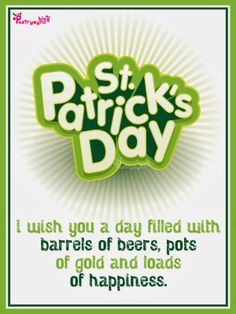 Happy Saint Patrick Day Wishes Image Card with Irish Saying