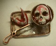 Dollhouse miniature handcrafted HALLOWEEN skull tray bones asylum haunted 1/12th #NorthernLitesMiniatures