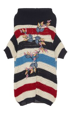 Flower Embroidered Striped Knitted Top by ANTONIO MARRAS for Preorder on Moda Operandi