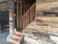 Ultimate rustic pallet wall in basement man cave. By Cowboy Jeff Custom Wood Furniture, Reclaimed Wood Furniture, Best Man Caves, Old License Plates, Man Cave Diy, Man Cave Basement, Outdoor Sheds, Wall Installation, Man Room