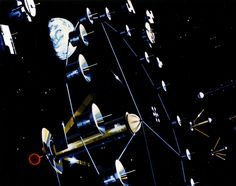 Space Colony Concepts: An artist's depiction showing multiple two-cylinder colonies aimed toward the sun from space colony summer studies conducted at NASA Ames in the 1970s.