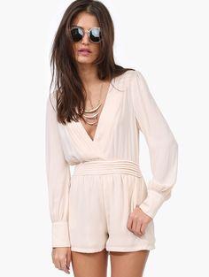 Biege Deep V-neck Long Sleeve Pleated Waist Jumpsuit - Sheinside.com