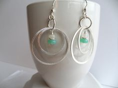 Sterling Silver Hoop Green Chalcedony Moonstone Dangle Women's Earrings, Brushed Sterling Double Hoop Earrings by ThenThereWereThree on Etsy