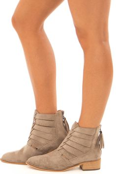 73724dadc Taupe Suede Booties with Strappy Detail. Pumps