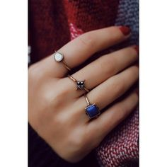 3 Piece Faux Stone Ring Set ❤ liked on Polyvore featuring jewelry, rings, fake jewelry, imitation jewellery, imitation rings, stone jewelry and artificial jewellery