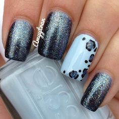 This gun metal glitter fade is amazing!  And the blue accent with cheetah - phenomenal!