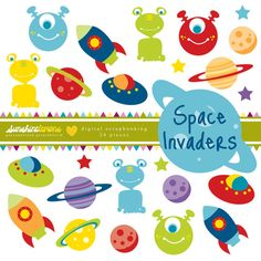 Space Invaders Clipart Moon Clipart Alien by SunshineLemons, $4.95