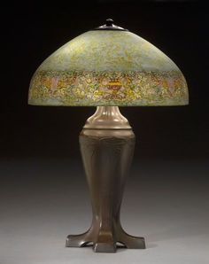 Handel Lamp Obverse-Painted Persian border against a turquoise and green mottled background. 1919 supported with a Handel Art Nouveau base Antique Lamps, Antique Lighting, Vintage Lamps, Chandeliers, Chandelier Lamp, Tiffany Lamps, Tiffany Art, Art Nouveau, I Love Lamp