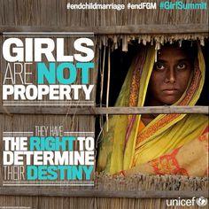 Las niñas tienen el derecho a decidir su futuro. Las niñas no son cosas, son seres humanos de respeto. #GirlSummit #EndFGM