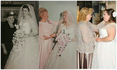 Kristen, her grandmother, and her mother all wearing the same dress for their weddings.