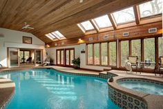 beautiful indoor pool. Warren likes the spa feel of this and the wood trim.