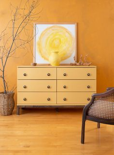 IKEA's TARVA dresser was practically made to be painted. We're going to show you how to paint an IKEA TARVA dresser with Fusion Mineral Paint. Yellow Painted Furniture, Painted Furniture For Sale, Painting Ikea Furniture, Retro Furniture, Classic Furniture, Furniture Stores, Cheap Furniture, Ikea Dresser Makeover, Ikea Tarva Dresser
