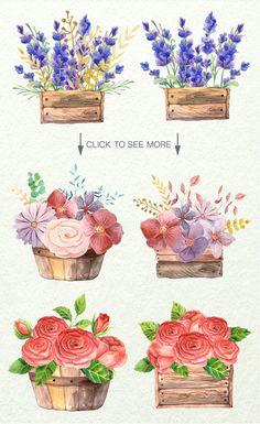 Watercolor Floral Box by LarysaZabrotskaya on Creative Market
