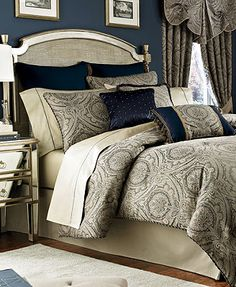 I love this one from Macy's -- especially the darker blue walls too.  -Croscill Hannah Comforter Sets
