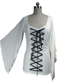 White Stretchy Lace-Up Gothic Corset Jersey Top