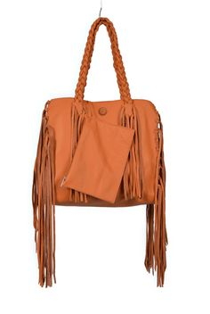 The Meraki Company - Orange Cleo Fringe Tote, $265.00 (http://www.themerakicompany.com/orange-cleo-fringe-tote/)