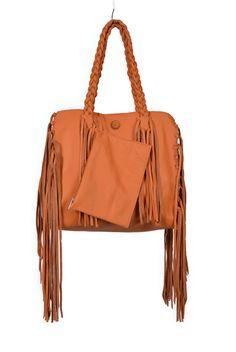 The Meraki Company - Orange Cleo Fringe Tote, $265.00 (http://www.themerakicompany.com/orange-cleo-fringe-tote/)