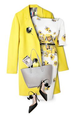 """Floral yellow"" by kseniz13 ❤ liked on Polyvore featuring MSGM, L.K.Bennett, Yves Saint Laurent, Marni, Papà Razzi, Hermès and Manolo Blahnik"