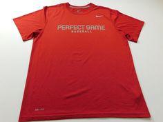 Nike Mens T Shirt Size Large L Red Short Sleeve Baseball Athletic gym Running #nike #BasicTee