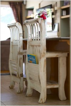 turn an old crib ... into a KITCHEN STOOLS