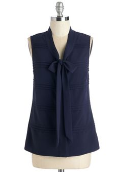 Boardroom For One More Top by Myrtlewood - Blue, Solid, Tie Neck, Work, Casual, Sleeveless, Blue, Sleeveless, Exclusives, Private Label, Mid-length