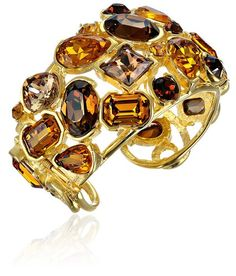 Kenneth Jay Lane Gold-Plated Topaz Stone Cuff Bracelet