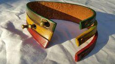 Rasta Leather Bracelet CuffLeather WristbandRastafarian