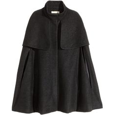 H&M Cape in a wool blend (£50) ❤ liked on Polyvore featuring outerwear, coats, cape, jackets, h&m, black, wool blend coat, black coat, cape coat and black cape