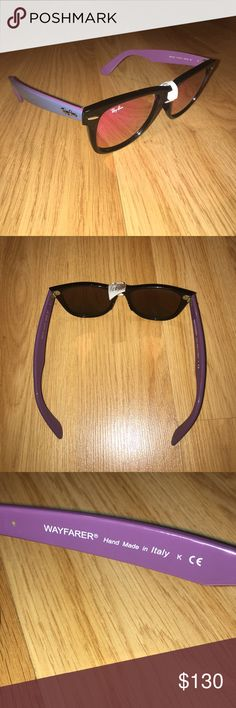 Ray Ban purple mirror wayfarer sunglasses NWT 51fb38b23a94