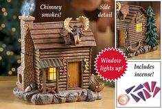 Lighted Smoking Log Cabin Incense Burner